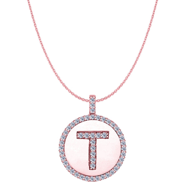 """T"" Diamond Initial 14K Rose Gold Disk Pendant (0.50ct) - JewelryAffairs  - 1"