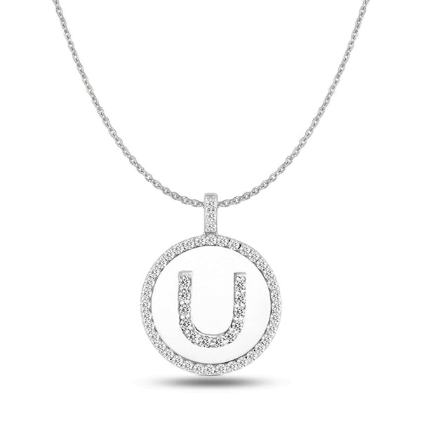 """U"" Diamond Initial 14K White Gold Disk Pendant (0.54ct) - JewelryAffairs  - 1"