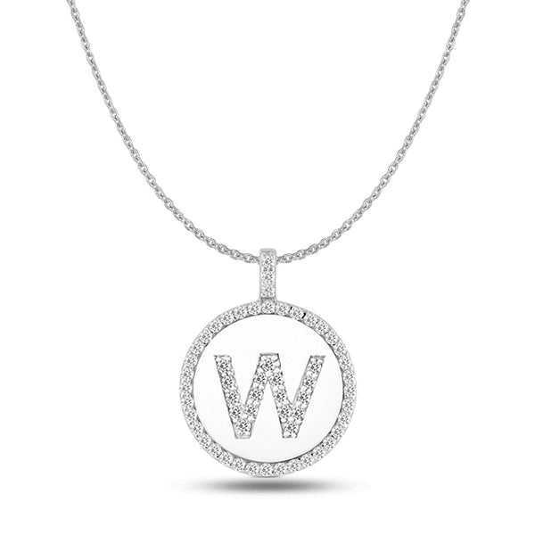 """W"" Diamond Initial 14K White Gold Disk Pendant (0.60ct) - JewelryAffairs  - 1"