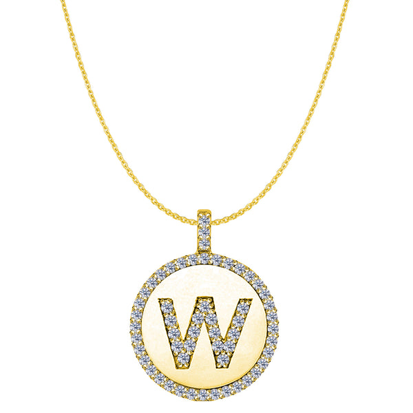 """W"" Diamond Initial 14K Yellow Gold Disk Pendant (0.60ct) - JewelryAffairs  - 1"