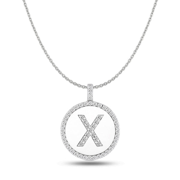 """X"" Diamond Initial 14K White Gold Disk Pendant (0.56ct) - JewelryAffairs  - 1"