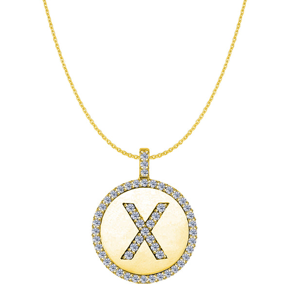 """X"" Diamond Initial 14K Yellow Gold Disk Pendant (0.56ct) - JewelryAffairs  - 1"