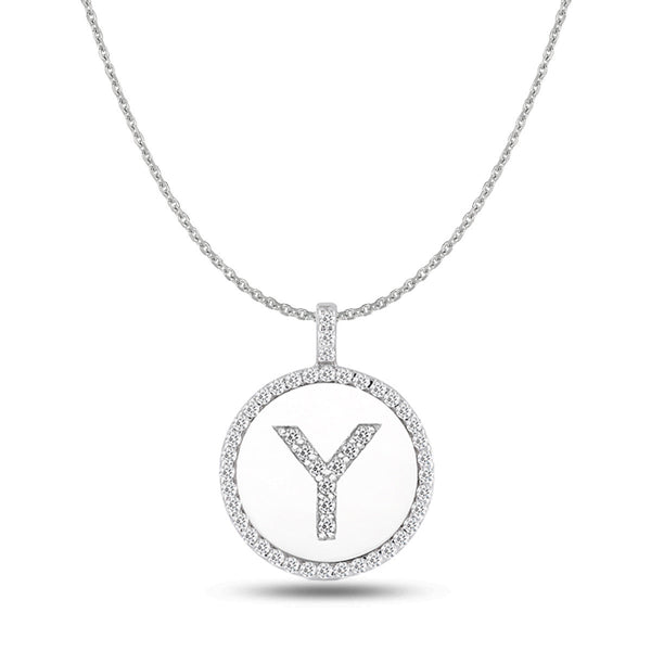 """Y"" Diamond Initial 14K White Gold Disk Pendant (0.50ct) - JewelryAffairs  - 1"