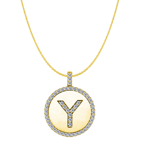 """Y"" Diamond Initial 14K Yellow Gold Disk Pendant (0.50ct) - JewelryAffairs  - 1"