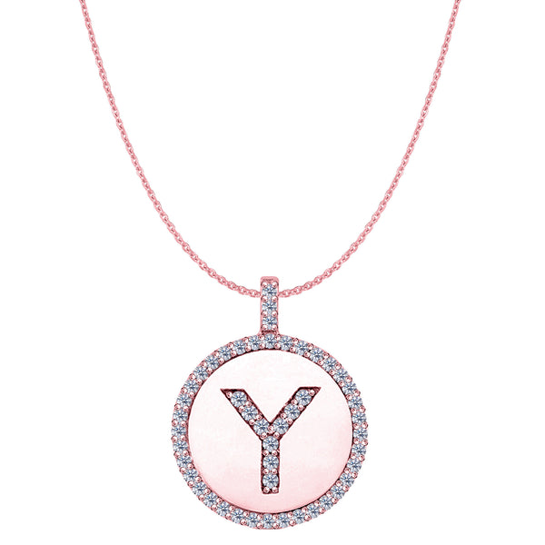 """Y"" Diamond Initial 14K Rose Gold Disk Pendant (0.50ct) - JewelryAffairs  - 1"