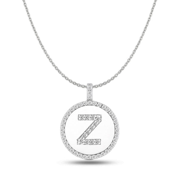 """Z"" Diamond Initial 14K White Gold Disk Pendant (0.53ct) - JewelryAffairs  - 1"
