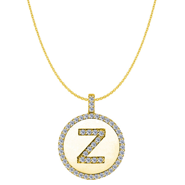 """Z"" Diamond Initial 14K Yellow Gold Disk Pendant (0.53ct) - JewelryAffairs  - 1"