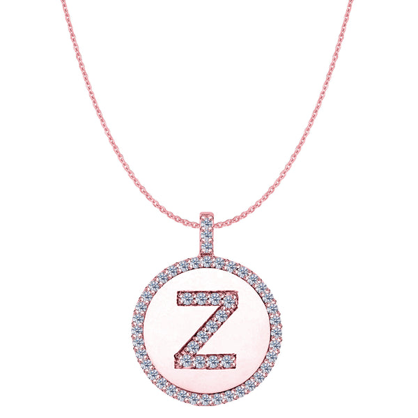 """Z"" Diamond Initial 14K Rose Gold Disk Pendant (0.53ct) - JewelryAffairs  - 1"