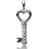 14K  White Gold Diamond Heart Key Pendant (0.25ctw - FG Color - SI2 Clarity) - JewelryAffairs