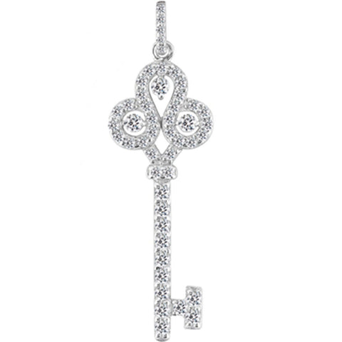 14K  White Gold Diamond Crorwn Key Pendant (0.69ctw - FG Color - SI2 Clarity) - JewelryAffairs  - 1