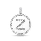"""Z"" Diamond Initial 14K White Gold Disk Pendant (0.53ct) - JewelryAffairs  - 2"