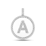 """A"" Diamond Initial  14K White Gold Disk Pendant (0.53ct) - JewelryAffairs  - 2"
