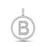 """B"" Diamond Initial  14K White Gold Disk Pendant (0.60ct) - JewelryAffairs  - 2"