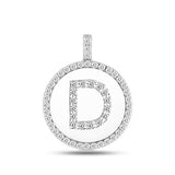 """D"" Diamond Initial  14K White Gold Disk Pendant (0.56ct) - JewelryAffairs  - 2"
