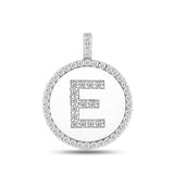 """E"" Diamond Initial  14K White Gold Disk Pendant (0.53ct) - JewelryAffairs  - 2"