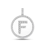 """F"" Diamond Initial  14K White Gold Disk Pendant (0.51ct) - JewelryAffairs  - 2"