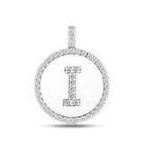 """I"" Diamond Initial  14K White Gold Disk Pendant (0.48ct) - JewelryAffairs  - 2"