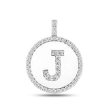 """J"" Diamond Initial  14K White Gold Disk Pendant (0.49ct) - JewelryAffairs  - 2"