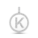 """K"" Diamond Initial  14K White Gold Disk Pendant (0.54ct) - JewelryAffairs  - 2"