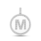 """M"" Diamond Initial  14K White Gold Disk Pendant (0.65ct) - JewelryAffairs  - 2"