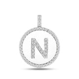 """N"" Diamond Initial 14K White Gold Disk Pendant (0.57ct) - JewelryAffairs  - 2"