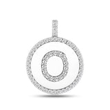 """O"" Diamond Initial 14K White Gold Disk Pendant (0.58ct) - JewelryAffairs  - 2"