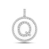 """Q"" Diamond Initial 14K White Gold Disk Pendant (0.59ct) - JewelryAffairs  - 2"