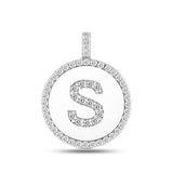 """S"" Diamond Initial 14K White Gold Disk Pendant (0.56ct) - JewelryAffairs  - 2"