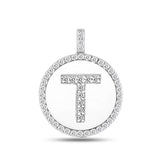 """T"" Diamond Initial 14K White Gold Disk Pendant (0.50ct) - JewelryAffairs  - 2"