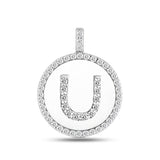 """U"" Diamond Initial 14K White Gold Disk Pendant (0.54ct) - JewelryAffairs  - 2"