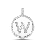 """W"" Diamond Initial 14K White Gold Disk Pendant (0.60ct) - JewelryAffairs  - 2"