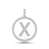 """X"" Diamond Initial 14K White Gold Disk Pendant (0.56ct) - JewelryAffairs  - 2"