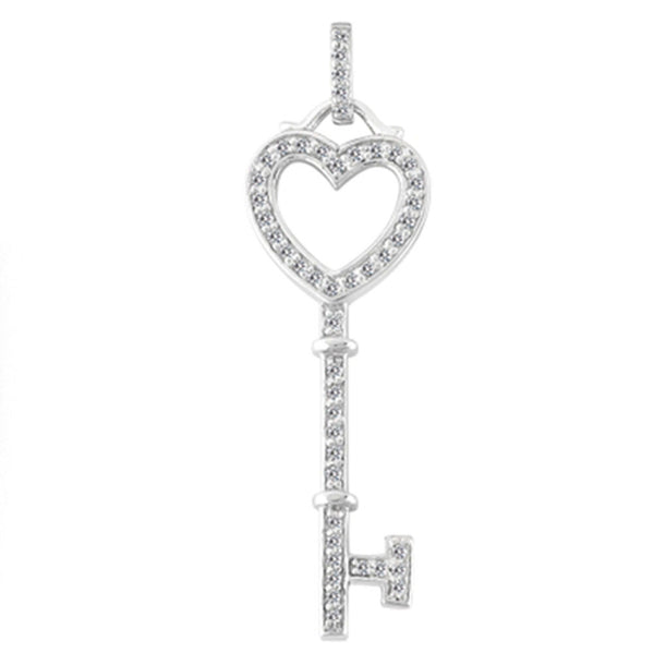 14K  White Gold Diamond Heart Key Pendant (0.29ctw - FG Color - SI2 Clarity) - JewelryAffairs