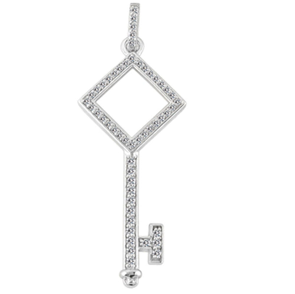 14K  White Gold Diamond Polygon Key Pendant (0.33ctw - FG Color - SI2 Clarity) - JewelryAffairs
