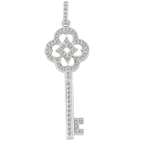 14K  White Gold Diamond Vintage Key Pendant (0.43ctw - FG Color - SI2 Clarity) - JewelryAffairs