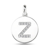 """Z"" Diamond Initial 14K White Gold Disk Pendant (0.12ct) - JewelryAffairs  - 2"