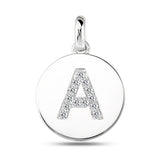 """A"" Diamond Initial  14K White Gold Disk Pendant (0.13ct) - JewelryAffairs  - 2"