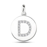 """D"" Diamond Initial  14K White Gold Disk Pendant (0.16ct) - JewelryAffairs  - 2"