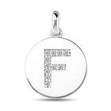"""F"" Diamond Initial  14K White Gold Disk Pendant (0.11ct) - JewelryAffairs  - 2"