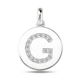 """G"" Diamond Initial  14K White Gold Disk Pendant (0.16ct) - JewelryAffairs  - 2"