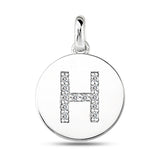 """H"" Diamond Initial  14K White Gold Disk Pendant (0.12ct) - JewelryAffairs  - 2"