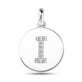 """I"" Diamond Initial  14K White Gold Disk Pendant (0.08ct) - JewelryAffairs  - 2"
