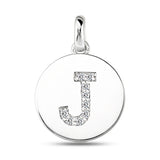 """J"" Diamond Initial  14K White Gold Disk Pendant (0.09ct) - JewelryAffairs  - 2"