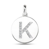 """K"" Diamond Initial  14K White Gold Disk Pendant (0.13ct) - JewelryAffairs  - 2"