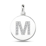 """M"" Diamond Initial  14K White Gold Disk Pendant (0.17ct) - JewelryAffairs  - 2"