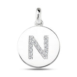 """N"" Diamond Initial  14K White Gold Disk Pendant (0.14ct) - JewelryAffairs  - 2"