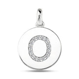 """O"" Diamond Initial 14K White Gold Disk Pendant (0.16ct) - JewelryAffairs  - 2"