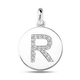 """R"" Diamond Initial 14K White Gold Disk Pendant (0.17ct) - JewelryAffairs  - 2"