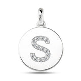 """S"" Diamond Initial 14K White Gold Disk Pendant (0.14ct) - JewelryAffairs  - 2"
