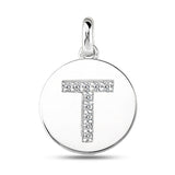"""T"" Diamond Initial 14K White Gold Disk Pendant (0.10ct) - JewelryAffairs  - 2"
